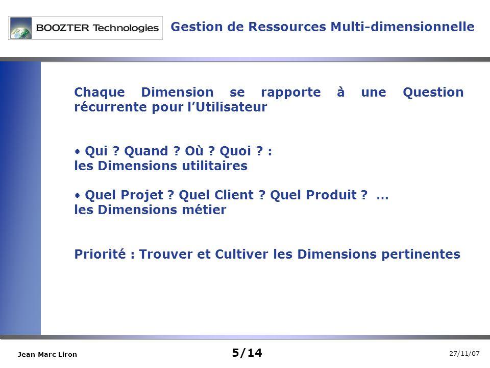 27/11/07 Jean Marc Liron Gestion de Ressources Multi-dimensionnelle Chaque Dimension se rapporte à une Question récurrente pour lUtilisateur Qui .