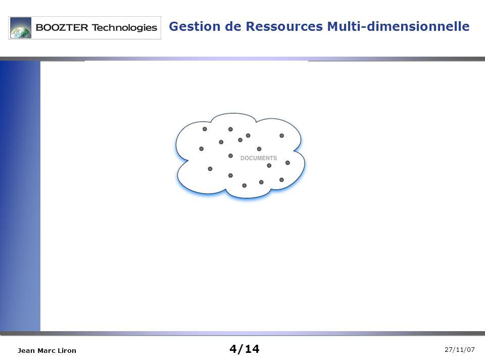 27/11/07 Jean Marc Liron Gestion de Ressources Multi-dimensionnelle 4/14