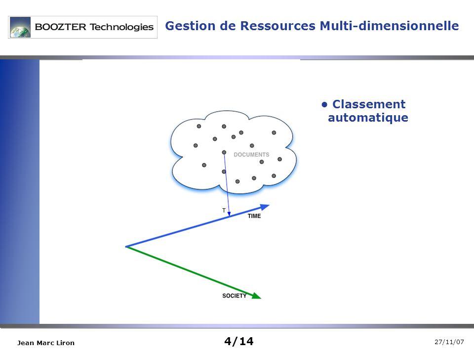 27/11/07 Jean Marc Liron Gestion de Ressources Multi-dimensionnelle Classement automatique 4/14