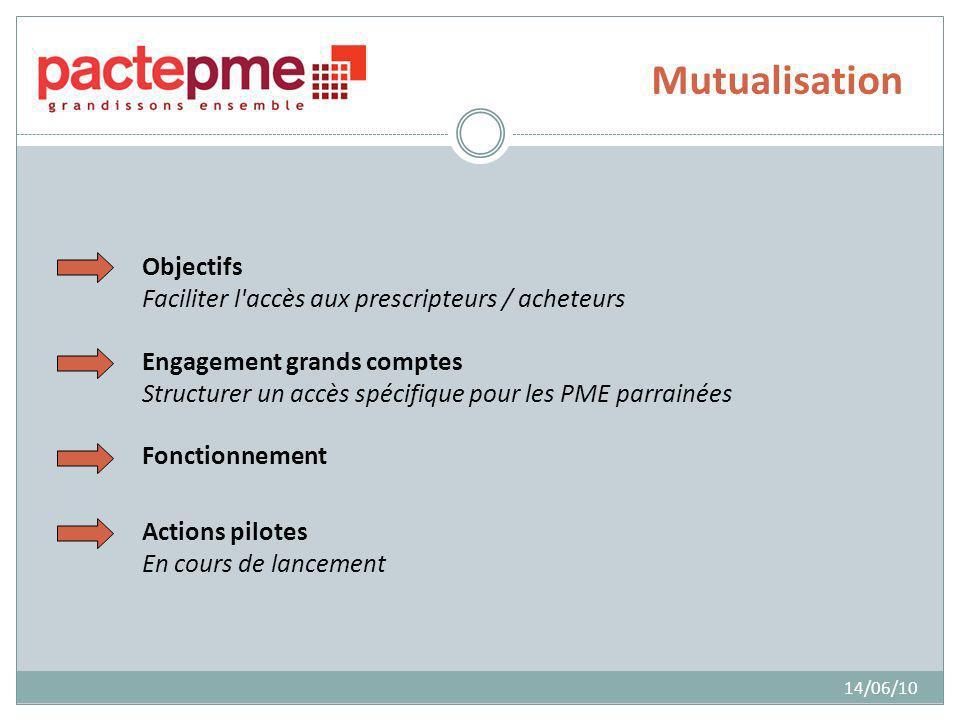 Mutualisation 14/06/10 Objectifs Faciliter l accès aux prescripteurs / acheteurs Engagement grands comptes Structurer un accès spécifique pour les PME parrainées Fonctionnement Actions pilotes En cours de lancement