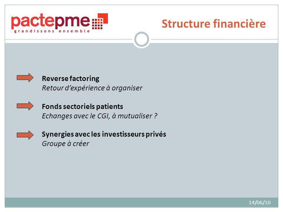 Structure financière 14/06/10 Reverse factoring Retour dexpérience à organiser Fonds sectoriels patients Echanges avec le CGI, à mutualiser ? Synergie