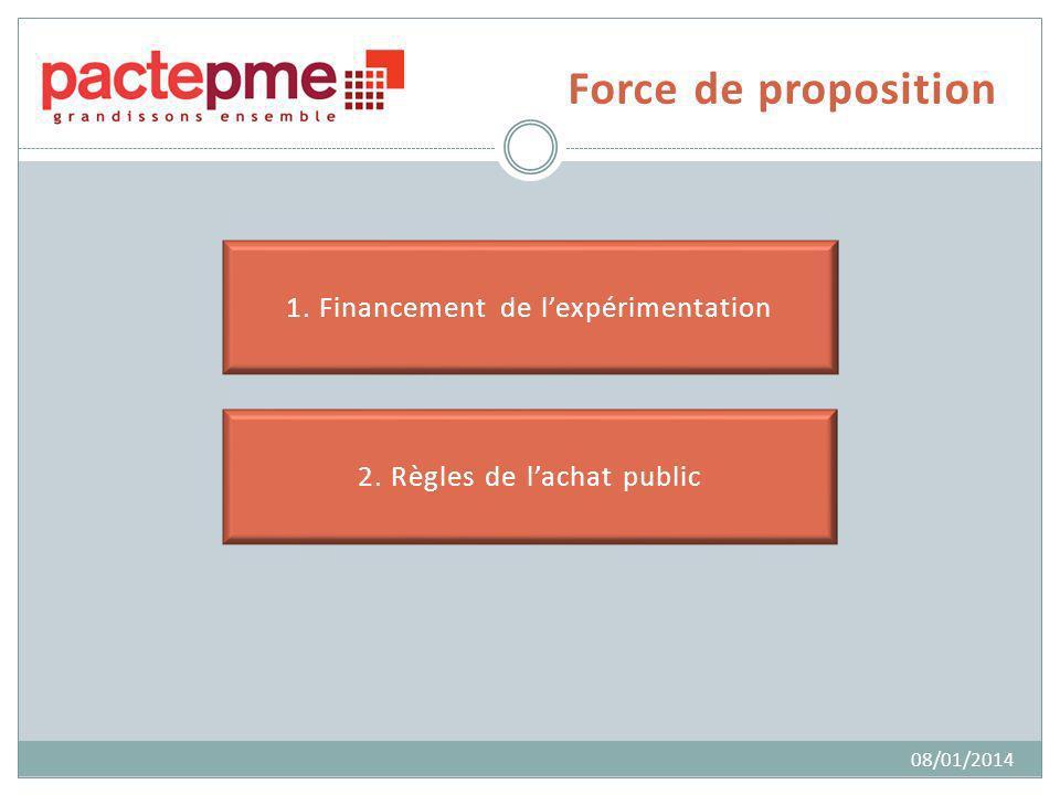 Force de proposition 1. Financement de lexpérimentation 2. Règles de lachat public 08/01/2014