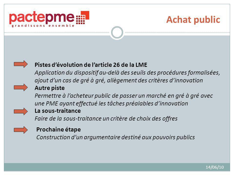 Achat public 14/06/10 Pistes dévolution de larticle 26 de la LME Application du dispositif au-delà des seuils des procédures formalisées, ajout dun ca