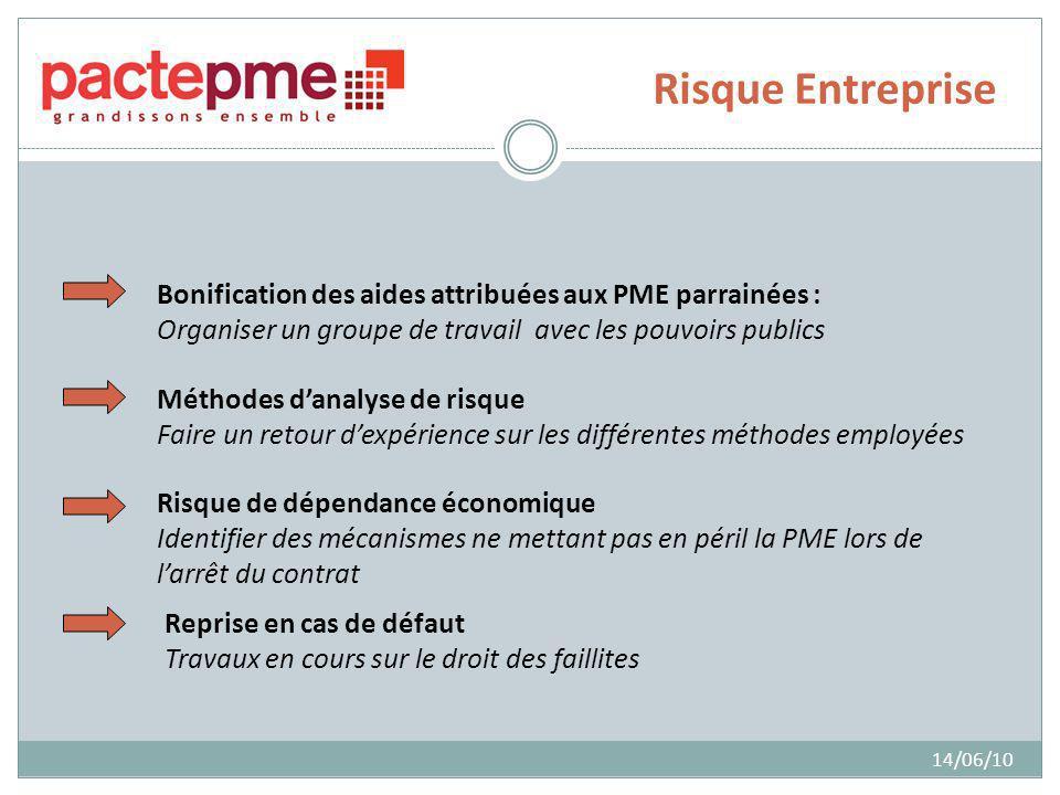 Risque Entreprise 14/06/10 Bonification des aides attribuées aux PME parrainées : Organiser un groupe de travail avec les pouvoirs publics Méthodes da