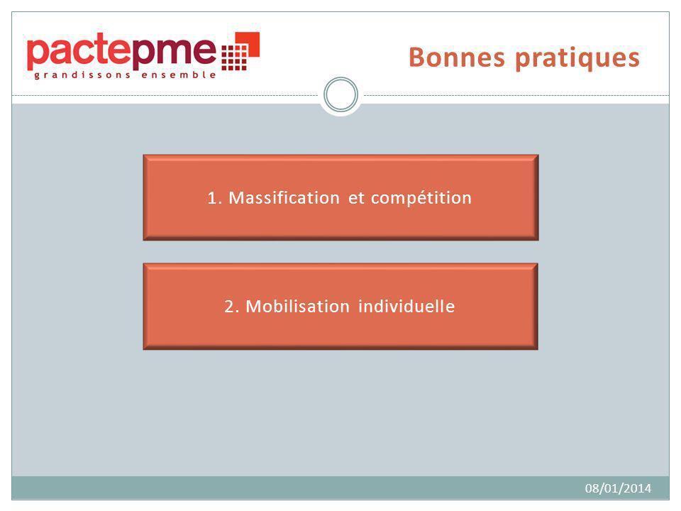 Bonnes pratiques 1. Massification et compétition 2. Mobilisation individuelle 08/01/2014