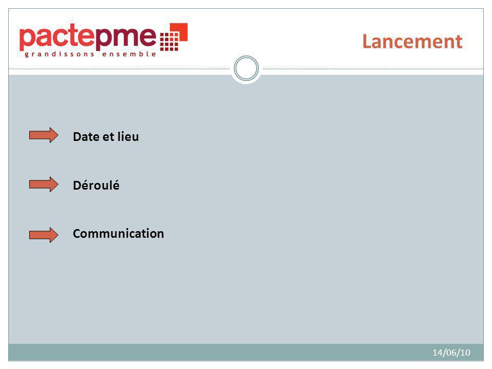 Lancement 14/06/10 Date et lieu Déroulé Communication