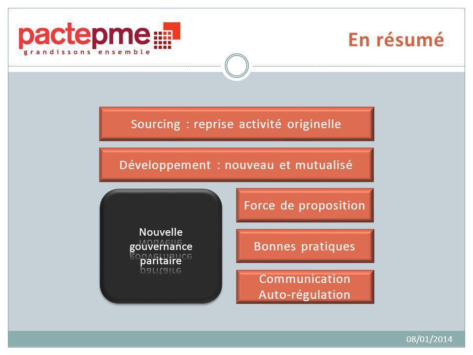 En résumé Sourcing : reprise activité originelle 08/01/2014 Développement : nouveau et mutualisé Force de proposition Communication Auto-régulation Bo
