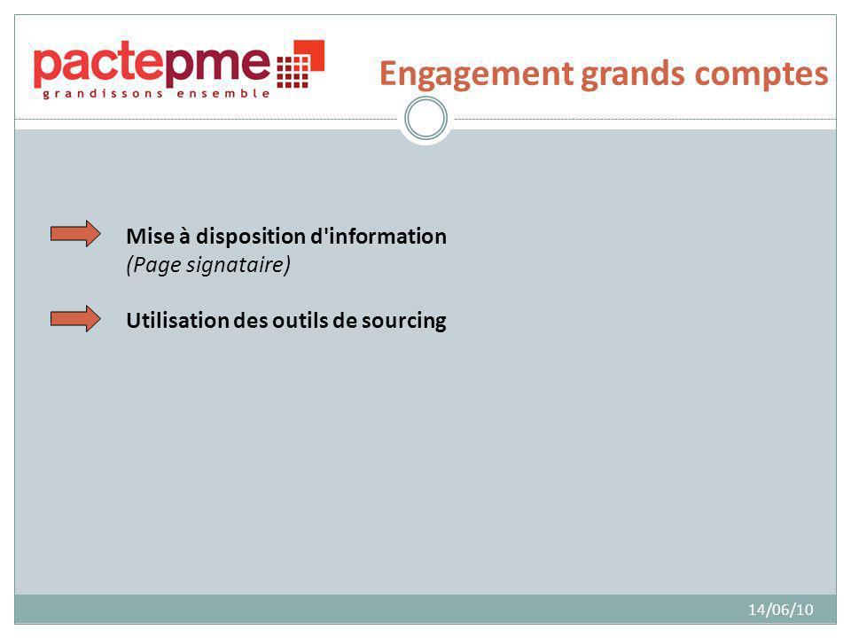 Engagement grands comptes 14/06/10 Mise à disposition d information (Page signataire) Utilisation des outils de sourcing