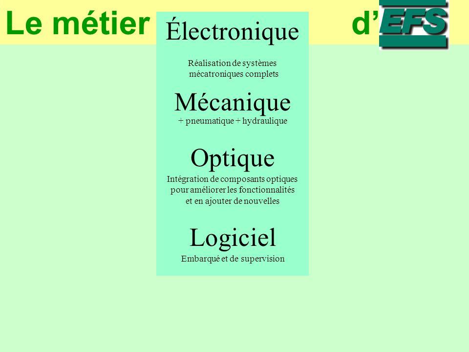 Le métier d L e m é t i e r d E F S Électronique Réalisation de systèmes mécatroniques complets Mécanique + pneumatique + hydraulique Optique Intégration de composants optiques pour améliorer les fonctionnalités et en ajouter de nouvelles Logiciel Embarqué et de supervision