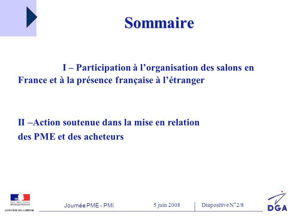 Journée PME - PMI 5 juin 2008 MINISTÈRE DE LA DÉFENSE Diapositive N°3/8 I.
