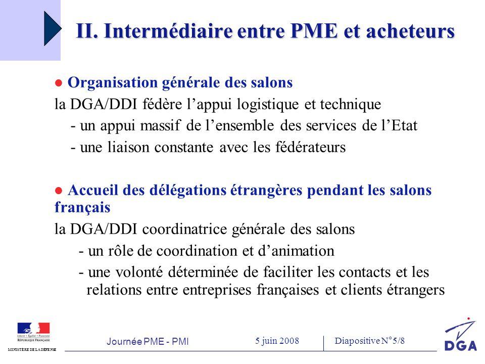 Journée PME - PMI 5 juin 2008 MINISTÈRE DE LA DÉFENSE Diapositive N°5/8 II.