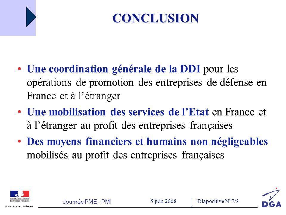 Journée PME - PMI 5 juin 2008 MINISTÈRE DE LA DÉFENSE Diapositive N°8/8