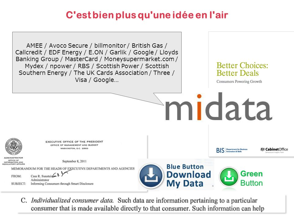 C est bien plus qu une idée en l air AMEE / Avoco Secure / billmonitor / British Gas / Callcredit / EDF Energy / E.ON / Garlik / Google / Lloyds Banking Group / MasterCard / Moneysupermarket.com / Mydex / npower / RBS / Scottish Power / Scottish Southern Energy / The UK Cards Association / Three / Visa / Google…