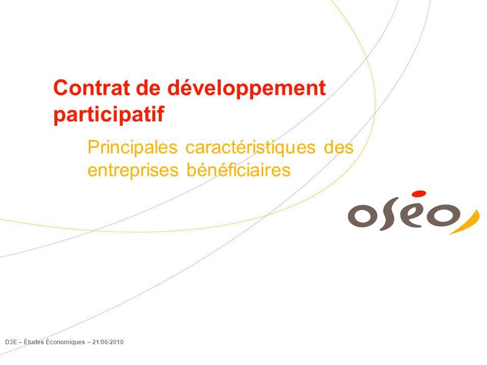 D3E – Études Économiques – 21/06/2010 Contrat de développement participatif Principales caractéristiques des entreprises bénéficiaires