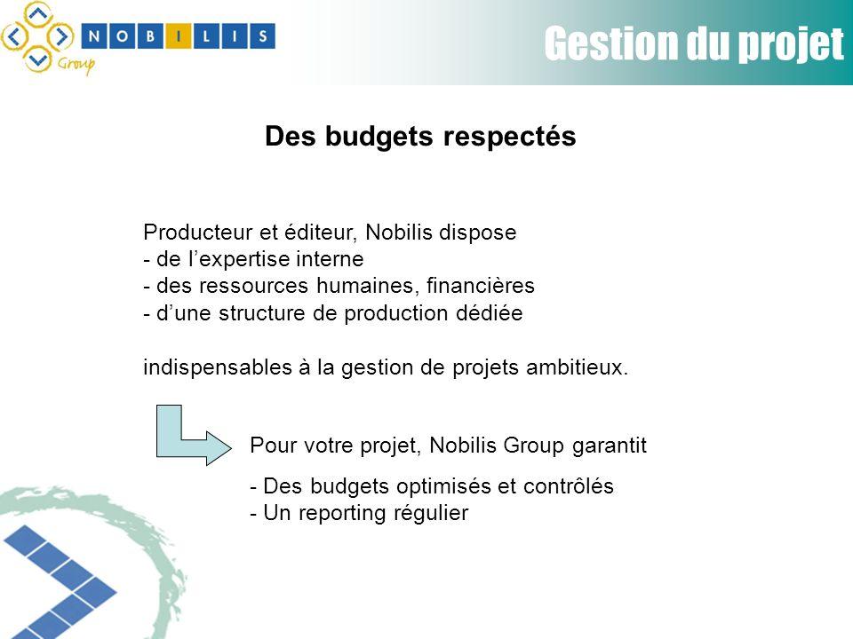 Gestion du projet Producteur et éditeur, Nobilis dispose - de lexpertise interne - des ressources humaines, financières - dune structure de production dédiée indispensables à la gestion de projets ambitieux.