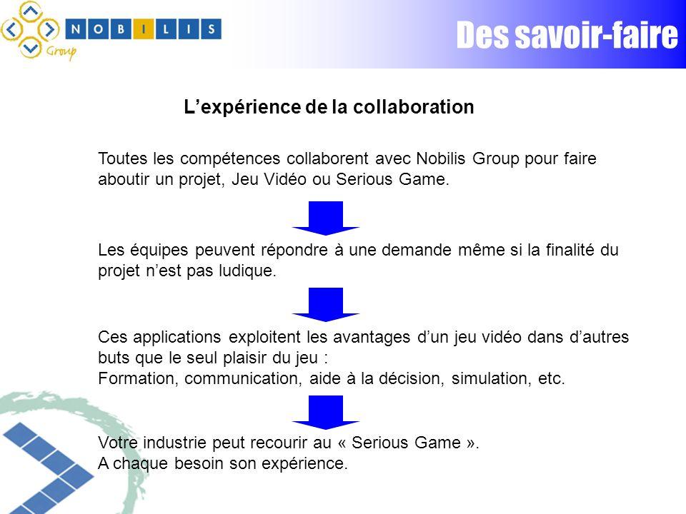 Des savoir-faire Toutes les compétences collaborent avec Nobilis Group pour faire aboutir un projet, Jeu Vidéo ou Serious Game.