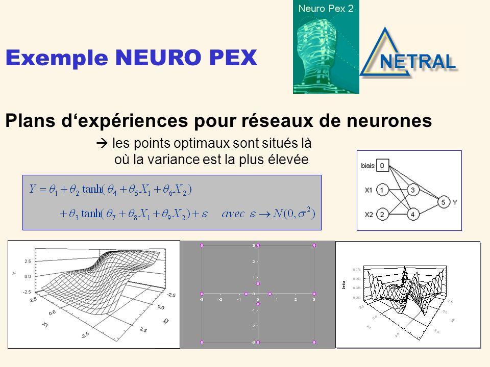 Plans dexpériences pour équations différentielles Cinétique chimique A B C [A], [B], [C] 1, 1, 2, 2 Solution via DLL dédiée 4 points optimaux t = 0,5 t = 2,4 t = 7,7 t = 20 Exemple NEURO PEX
