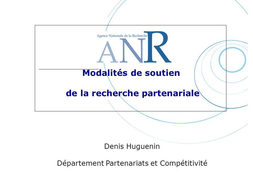 Modalités de soutien de la recherche partenariale Denis Huguenin Département Partenariats et Compétitivité