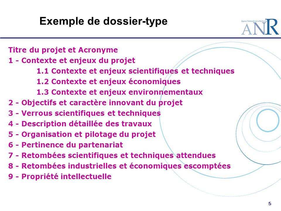 5 Exemple de dossier-type Titre du projet et Acronyme 1 - Contexte et enjeux du projet 1.1 Contexte et enjeux scientifiques et techniques 1.2 Contexte