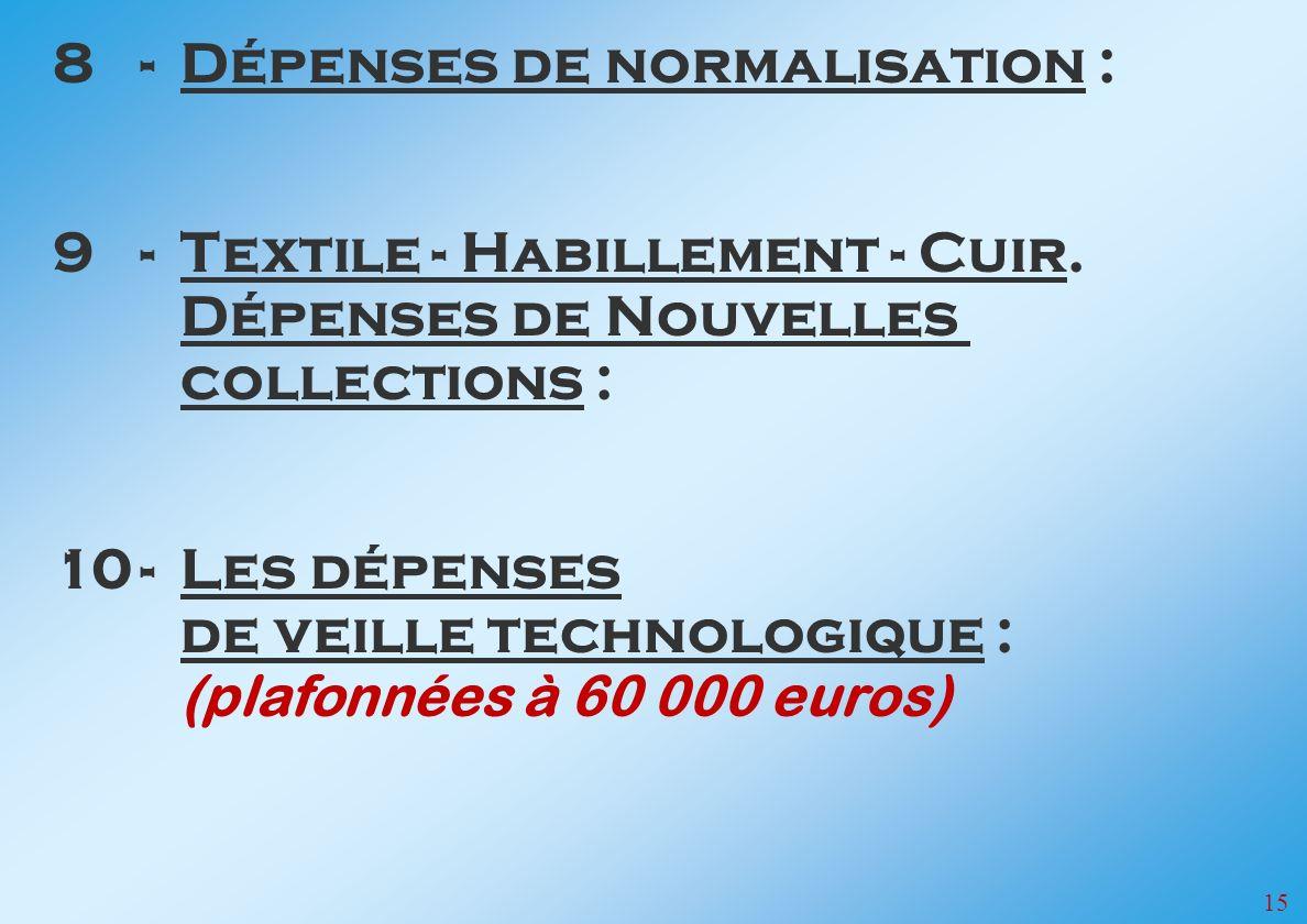 15 8-Dépenses de normalisation : 9-Textile - Habillement - Cuir.