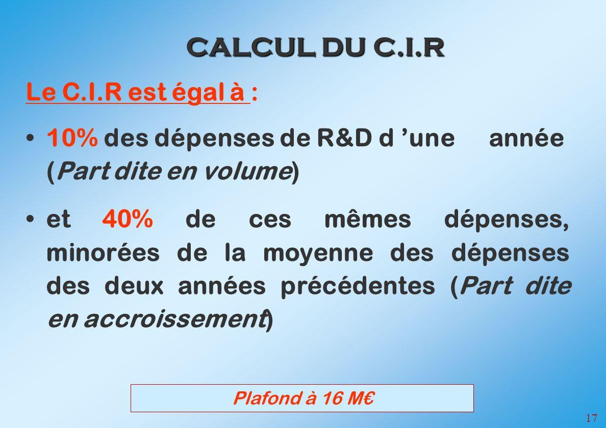 17 CALCUL DU C.I.R Le C.I.R est égal à : 10% des dépenses de R&D d une année (Part dite en volume) et 40% de ces mêmes dépenses, minorées de la moyenne des dépenses des deux années précédentes (Part dite en accroissement) Plafond à 16 M