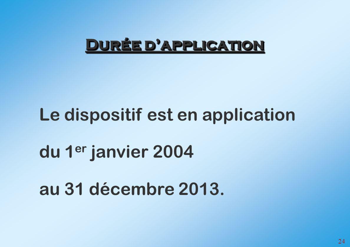 24 Le dispositif est en application du 1 er janvier 2004 au 31 décembre 2013. Durée dapplication