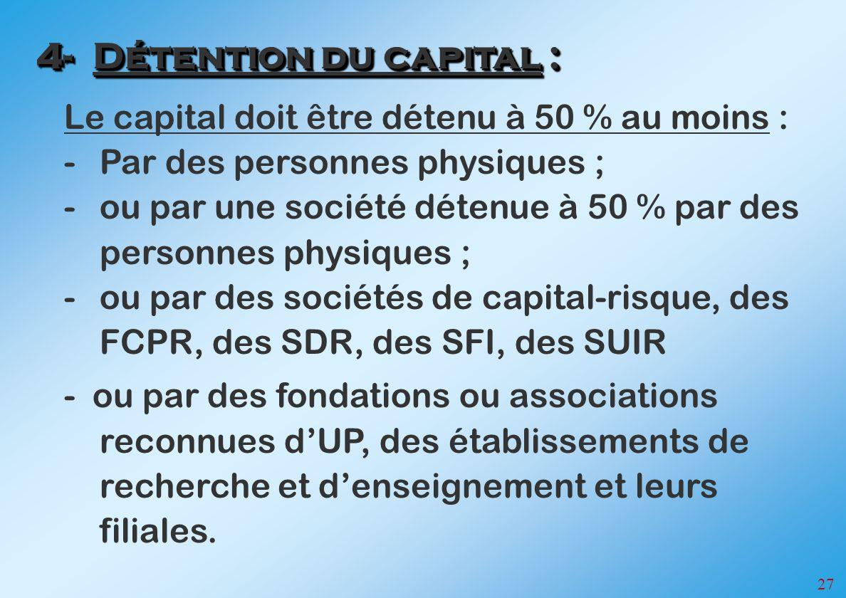 27 Le capital doit être détenu à 50 % au moins : -Par des personnes physiques ; -ou par une société détenue à 50 % par des personnes physiques ; -ou p