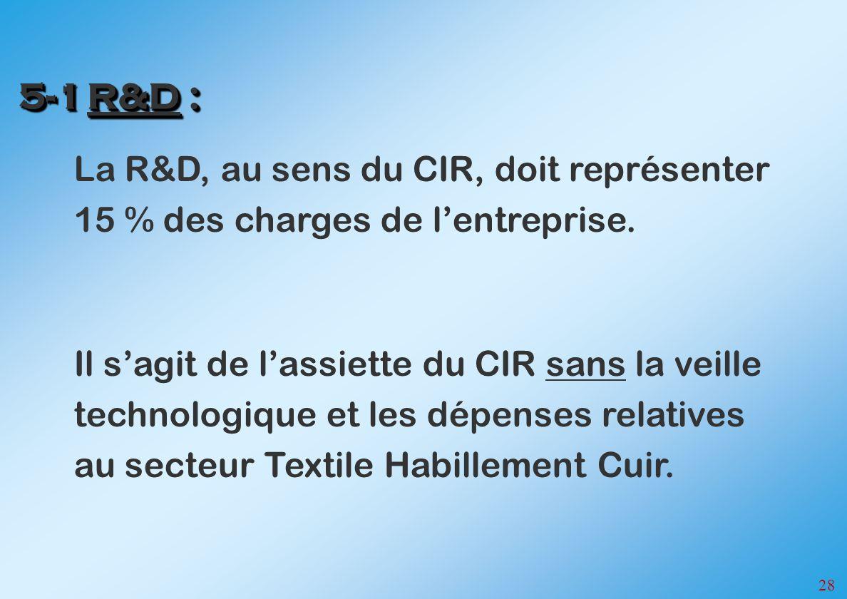 28 La R&D, au sens du CIR, doit représenter 15 % des charges de lentreprise. Il sagit de lassiette du CIR sans la veille technologique et les dépenses