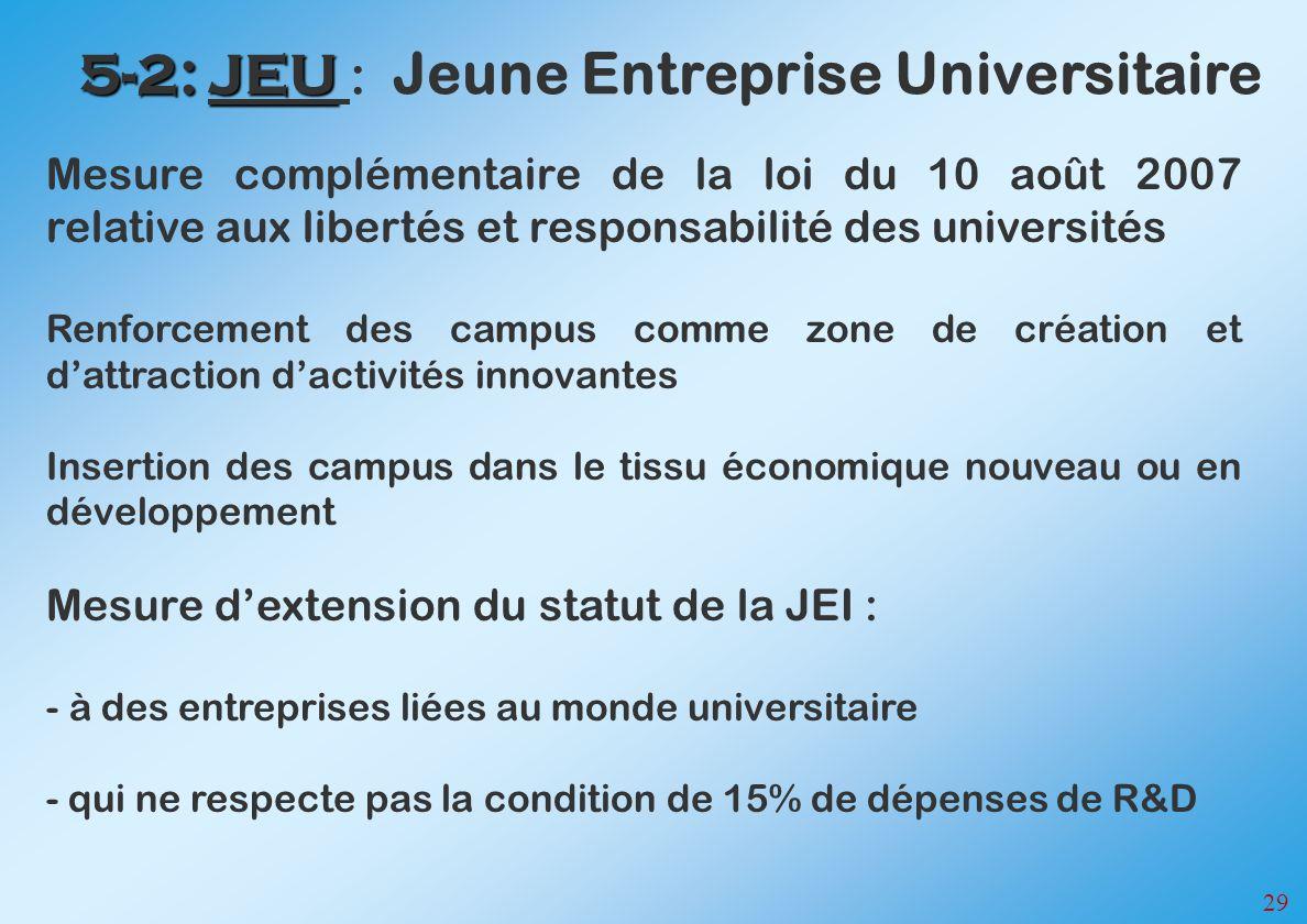 29 5-2: JEU 5-2: JEU : Jeune Entreprise Universitaire Mesure complémentaire de la loi du 10 août 2007 relative aux libertés et responsabilité des univ