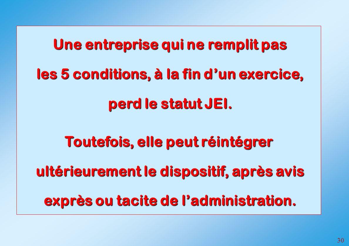 30 Une entreprise qui ne remplit pas les 5 conditions, à la fin dun exercice, perd le statut JEI.