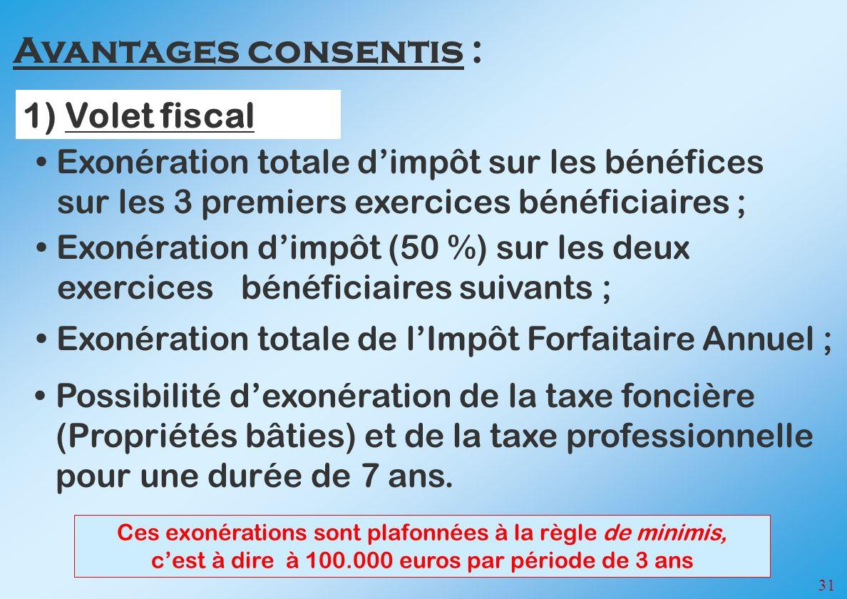 31 Exonération totale dimpôt sur les bénéfices sur les 3 premiers exercices bénéficiaires ; Exonération dimpôt (50 %) sur les deux exercices bénéficiaires suivants ; Possibilité dexonération de la taxe foncière (Propriétés bâties) et de la taxe professionnelle pour une durée de 7 ans.