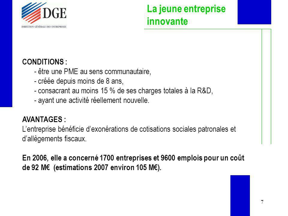 7 La jeune entreprise innovante CONDITIONS : - être une PME au sens communautaire, - créée depuis moins de 8 ans, - consacrant au moins 15 % de ses ch