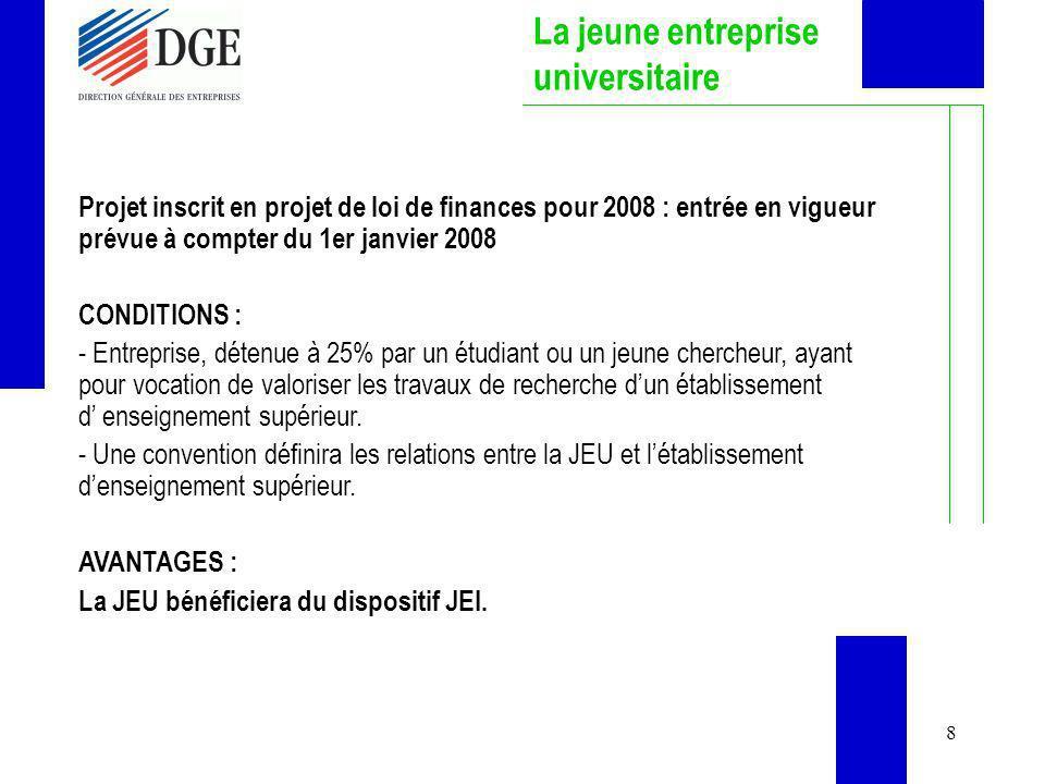8 La jeune entreprise universitaire Projet inscrit en projet de loi de finances pour 2008 : entrée en vigueur prévue à compter du 1er janvier 2008 CON