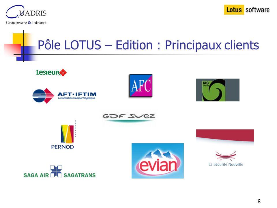 8 Pôle LOTUS – Edition : Principaux clients