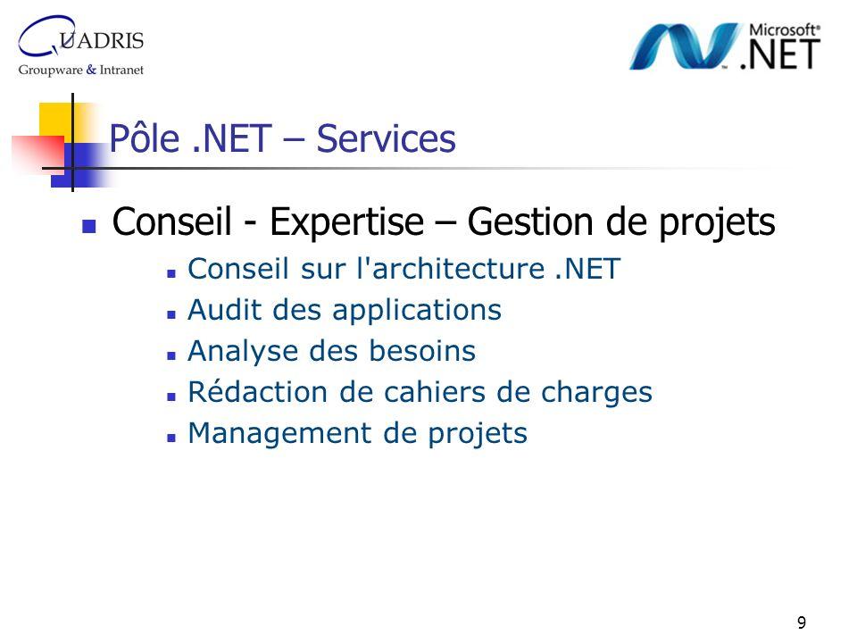 10 Pôle.NET – Services Développement Développement d applications Web Clients Lourds (Winforms) Développement d applications Web Clients Légers (Webforms) Environnement technique : C#, VB.NET, ASP.NET, ADO.NET, AJAX Outils & Bases de données : VisualStudio.Net, SQL Server