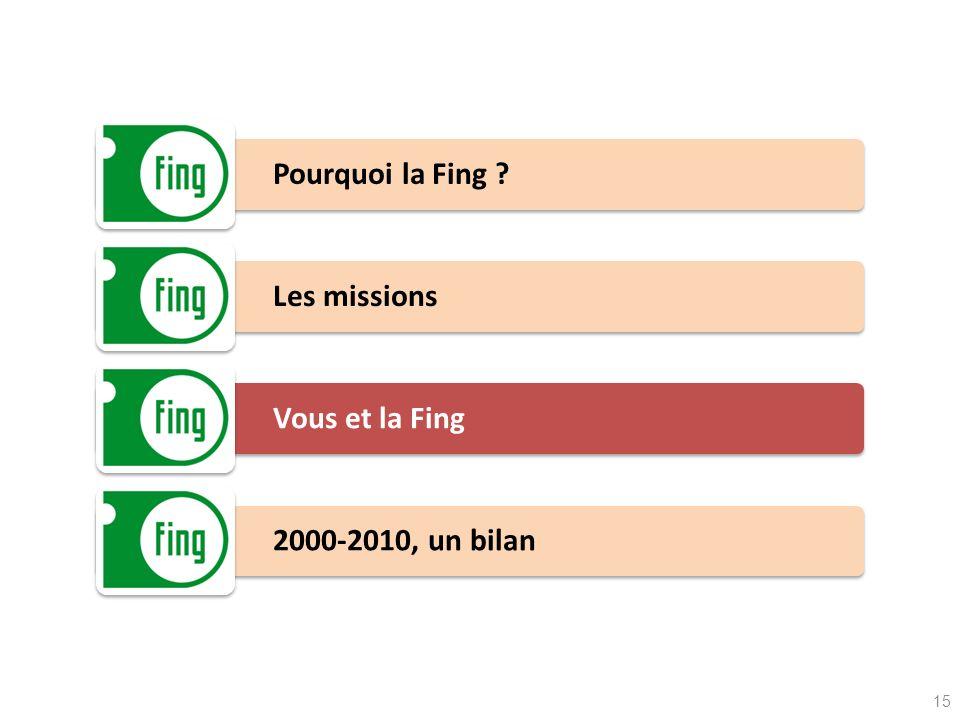 Pourquoi la Fing ? Les missions Vous et la Fing 2000-2010, un bilan 15
