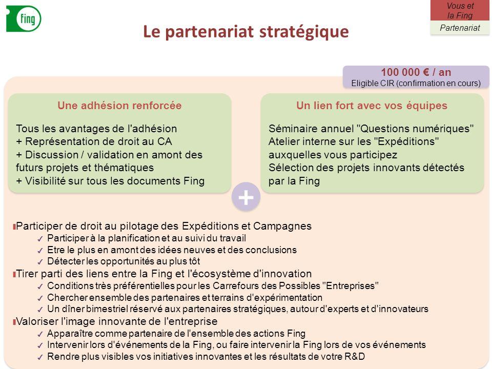 Le partenariat stratégique 20 Participer de droit au pilotage des Expéditions et Campagnes Participer à la planification et au suivi du travail Etre l