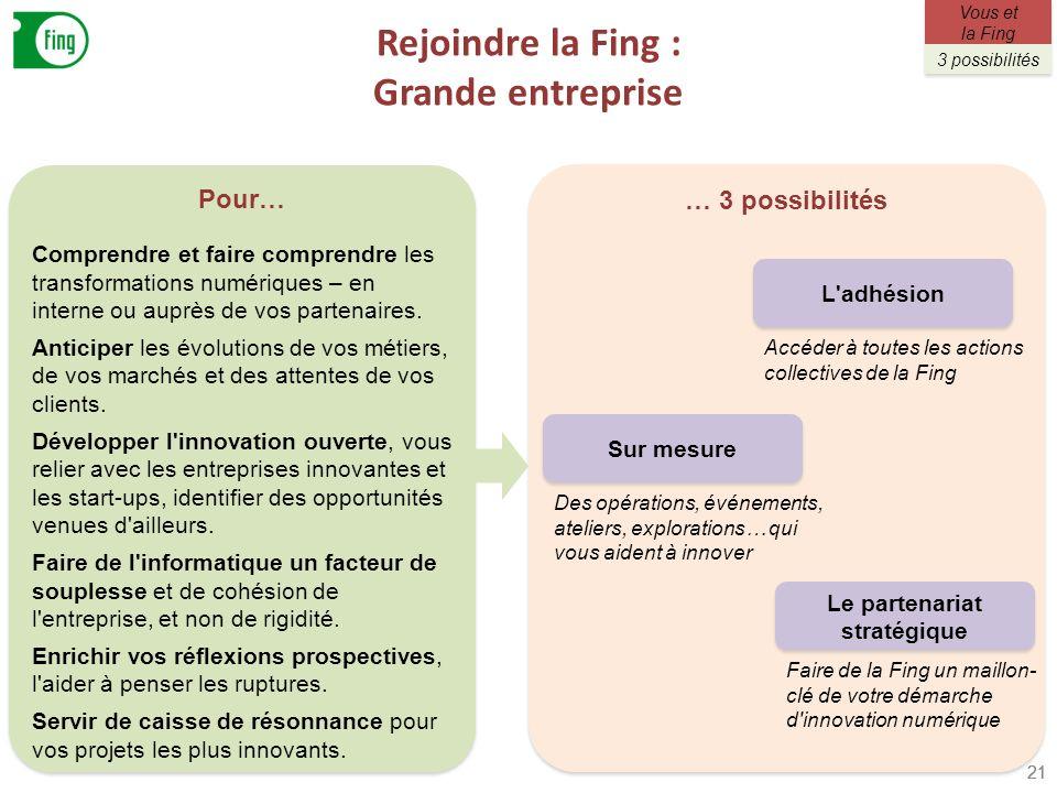 Rejoindre la Fing : Grande entreprise 21 Pour… Comprendre et faire comprendre les transformations numériques – en interne ou auprès de vos partenaires