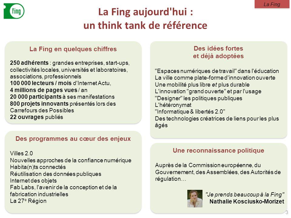 La Fing aujourd'hui : un think tank de référence 3 La Fing en quelques chiffres 250 adhérents : grandes entreprises, start-ups, collectivités locales,