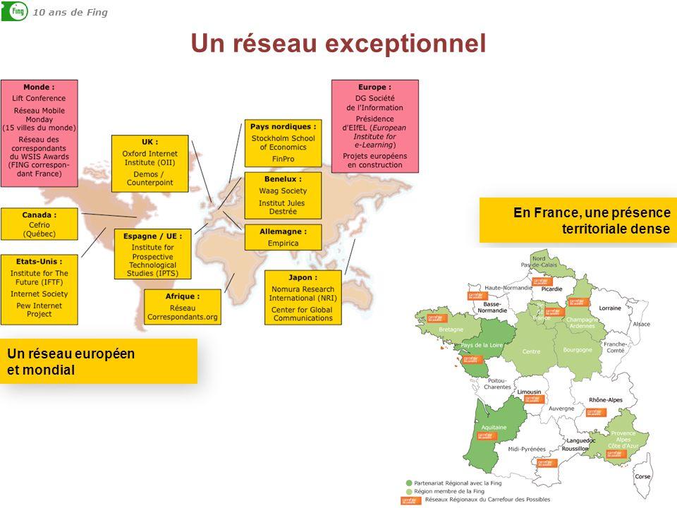 Un réseau exceptionnel 10 ans de Fing En France, une présence territoriale dense Un réseau européen et mondial