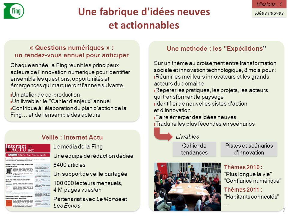 Une fabrique d'idées neuves et actionnables 7 Veille : Internet Actu « Questions numériques » : un rendez-vous annuel pour anticiper Une méthode : les