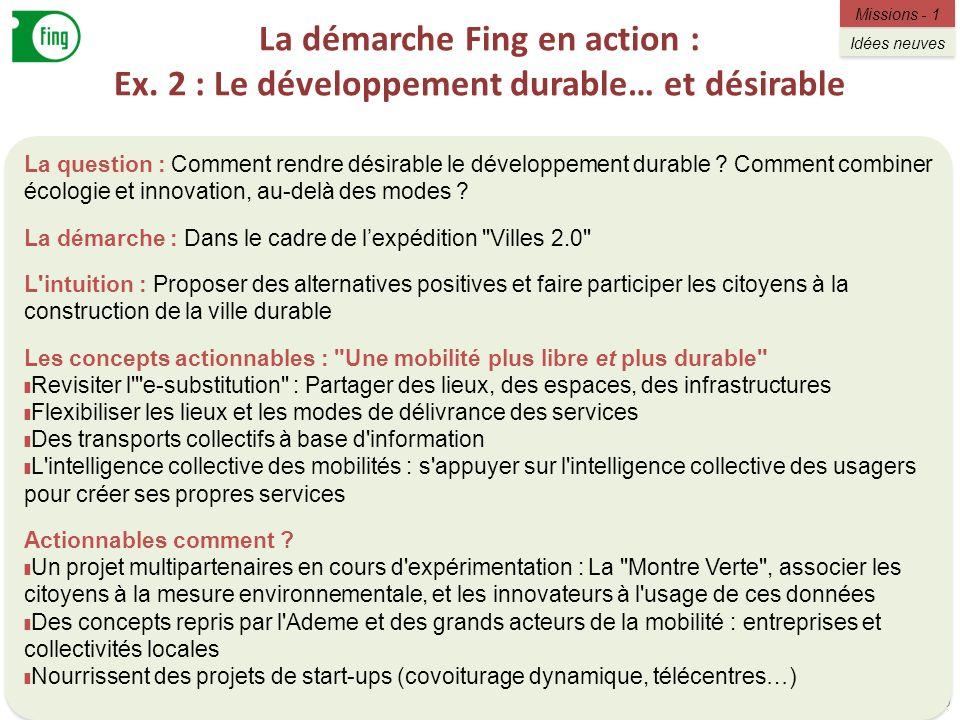 La démarche Fing en action : Ex. 2 : Le développement durable… et désirable 9 La question : Comment rendre désirable le développement durable ? Commen