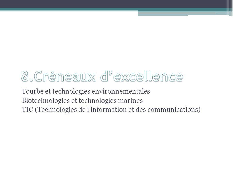 Tourbe et technologies environnementales Biotechnologies et technologies marines TIC (Technologies de linformation et des communications)