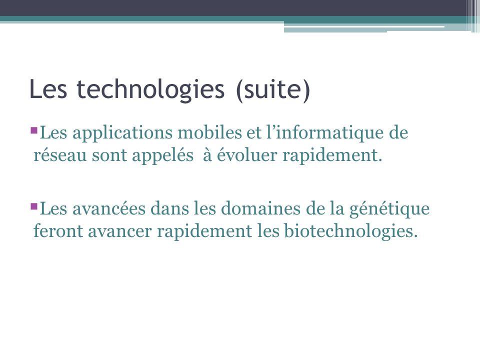 Les technologies (suite) Les applications mobiles et linformatique de réseau sont appelés à évoluer rapidement.