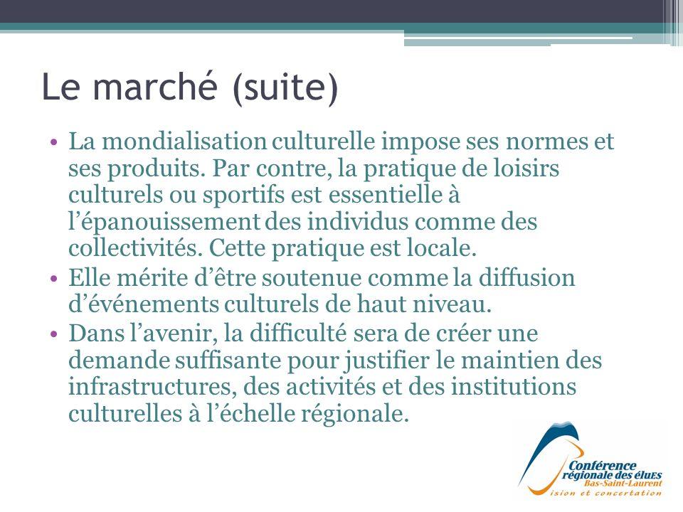 Le marché (suite) La mondialisation culturelle impose ses normes et ses produits.