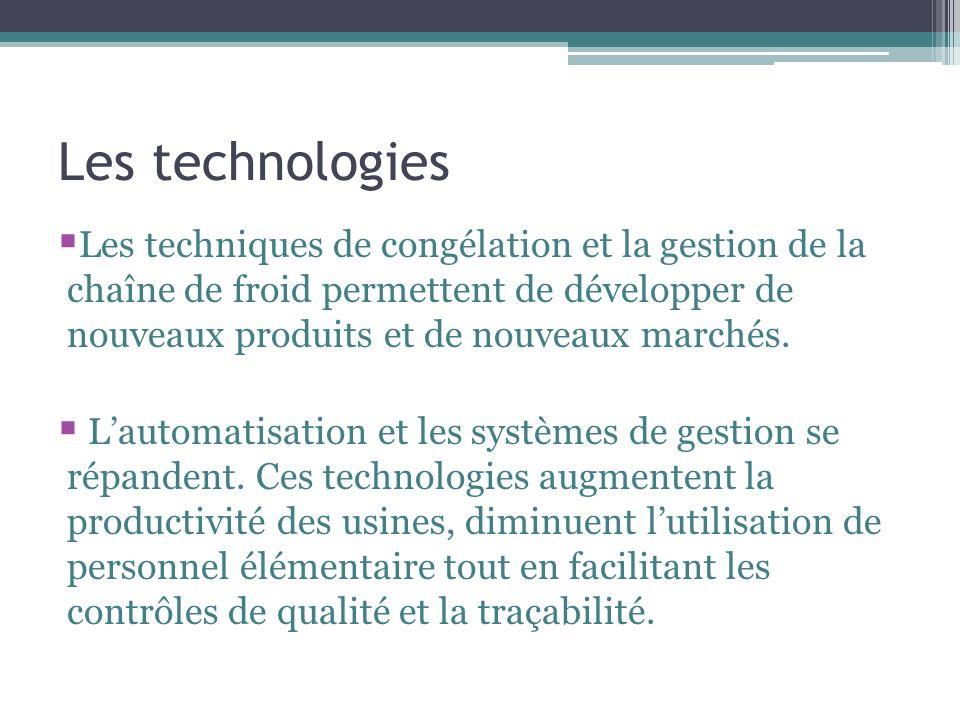 Les technologies Les techniques de congélation et la gestion de la chaîne de froid permettent de développer de nouveaux produits et de nouveaux marchés.