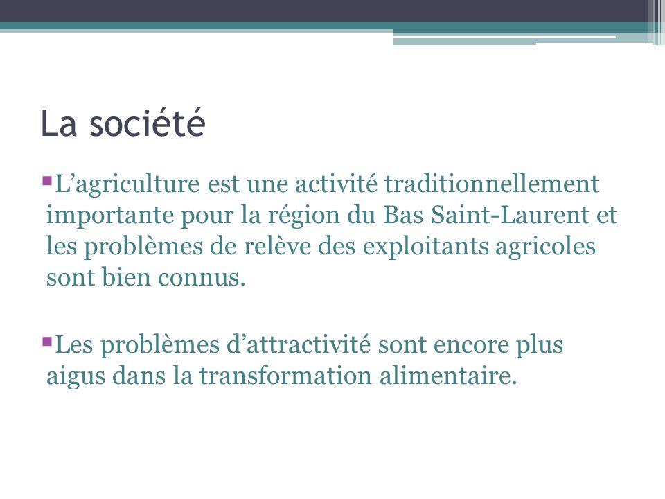 La société Lagriculture est une activité traditionnellement importante pour la région du Bas Saint-Laurent et les problèmes de relève des exploitants agricoles sont bien connus.
