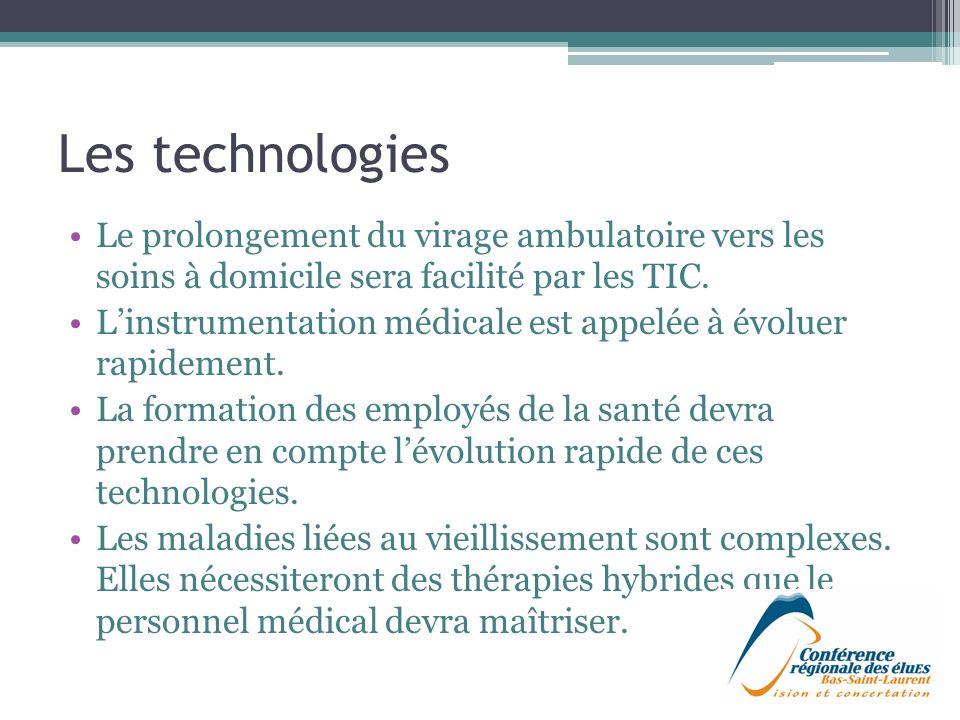 Les technologies Le prolongement du virage ambulatoire vers les soins à domicile sera facilité par les TIC.