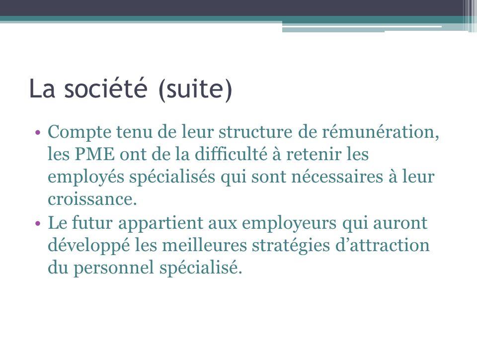 La société (suite) Compte tenu de leur structure de rémunération, les PME ont de la difficulté à retenir les employés spécialisés qui sont nécessaires à leur croissance.