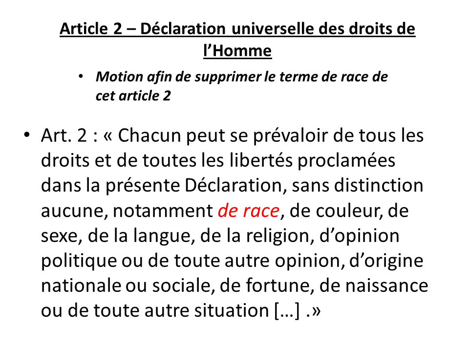 Article 2 – Déclaration universelle des droits de lHomme Art.